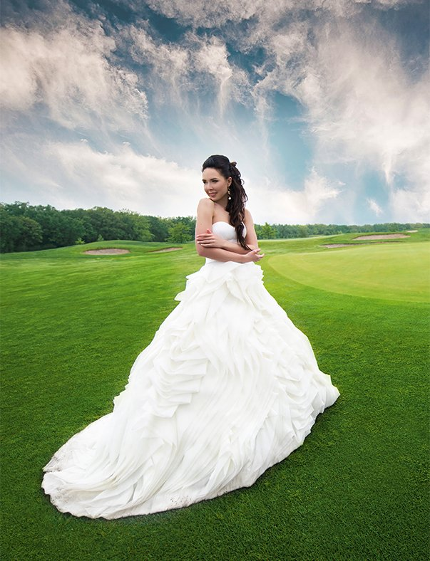 Wedding photo editing example - Bride in a dress - After