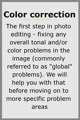 Fixing color problems for wedding photo editing