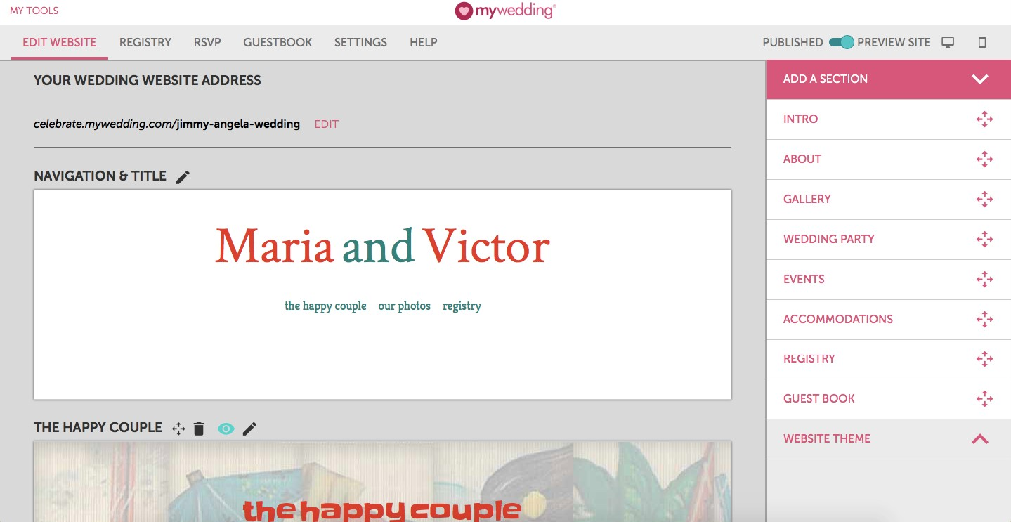 mywedding wedding website builder