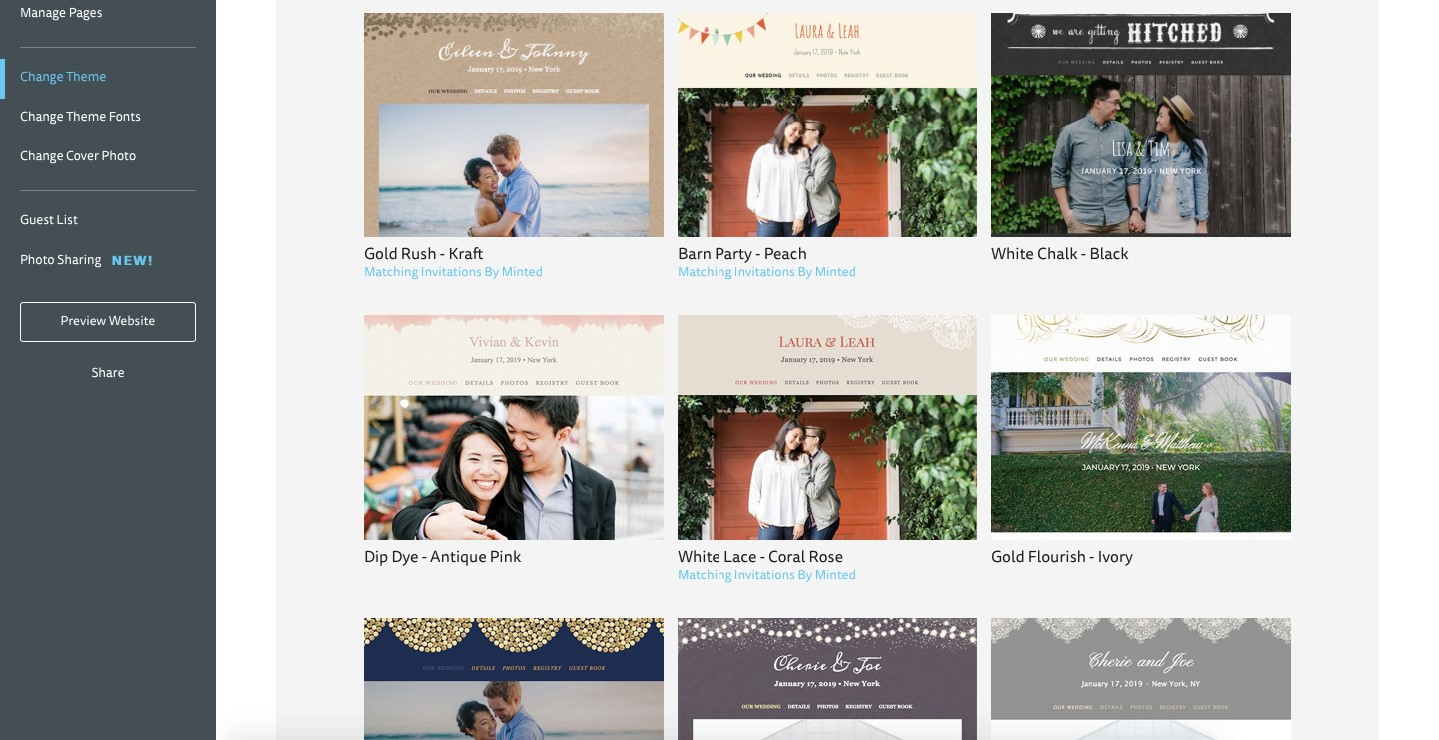 the knot wedding website builder