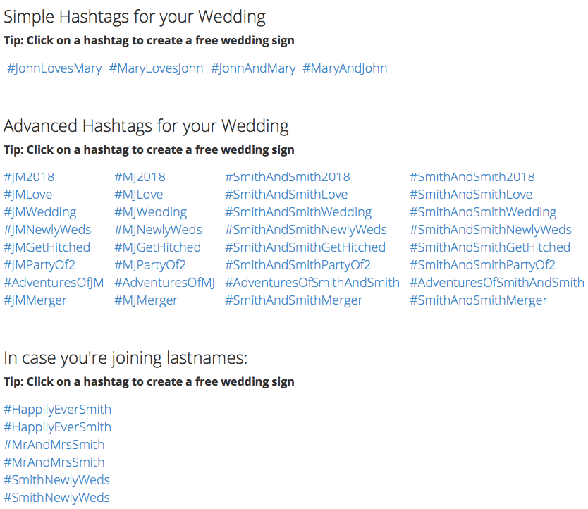 Wedding Hashtags Generator.Top Wedding Hashtags On Instagram 2018